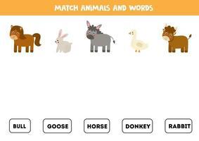 haciendo coincidir los animales de granja y las palabras. juego educativo para niños. vector