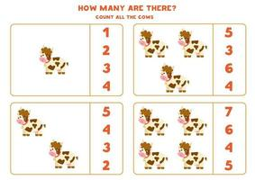 Counting game with farm cows. Math worksheet. vector
