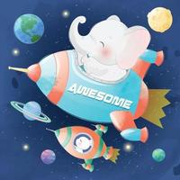 Cute little bunny and elephant in spaceships illustration vector