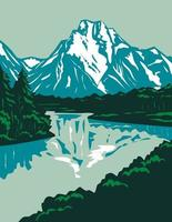 Jackson Hole Valley with the Peaks of Grand Teton National Park in Wyoming United States, WPA Poster Art vector