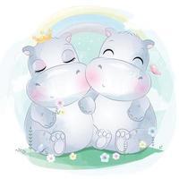 Cute little hippo couple illustration vector