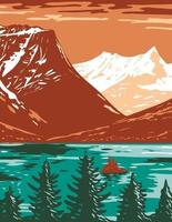 Saint Mary Lake in Glacier National Park located in Montana United States of America, WPA Poster Art vector
