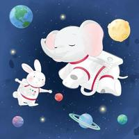 Cute little bunny with elephant in space illustration vector