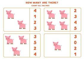 contando juego con cerdos de granja. hoja de trabajo de matemáticas. vector