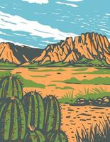 Chihuahuan Desert covering parts of Big Bend National Park in Mexico and southwestern United States, WPA Poster Art vector
