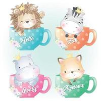 Cute animals sitting inside cup illustration vector