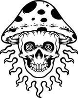 Trippy mushroom head skull Silhouette vector