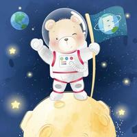 Cute little bear in space illustration vector