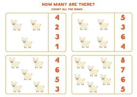 Counting game with cartoon ram. Math worksheet. vector