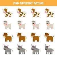 Find animal which is different from others. Farm themed worksheet. vector