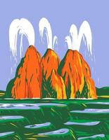 Fly Geyser or Fly Ranch Geyser Located in Black Rock Desert Washoe County, Nevada WPA Poster Art vector