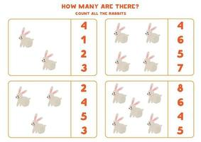 Counting game with cartoon rabbit. Math worksheet. vector