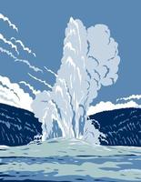 The Old Faithful Cone Geyser in Yellowstone National Park in Wyoming United States of America, WPA Poster Art vector