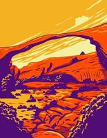 Landscape Arch located in Arches National Park Utah United States, WPA Poster Art vector