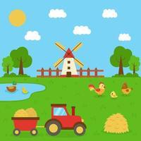 lindas aves domésticas en el fondo de la granja con tractor. vector