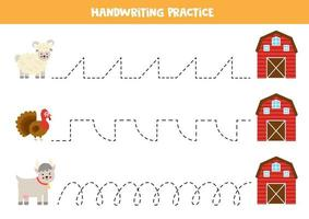 Trace the lines with farm animals. Writing practice. vector