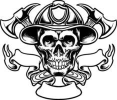 Cráneo en el sombrero de bombero y hacha cruzada, silueta de mascota logo vector