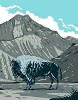 American Bison with Eagle Peak Mountain in Yellowstone National Park, Wyoming United States of America, WPA Poster Art vector