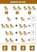 Addition game with cute cartoon farm cow. Math game for kids. vector