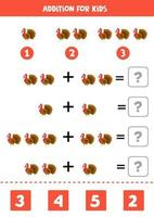 Addition worksheet with cute turkey. Math game. vector