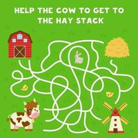 Maze with cartoon cow and hay stack. Logical game for kids. vector