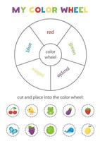 mi rueda de colores. juego educativo para aprender los colores primarios. vector