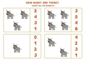 Counting game with farm donkeys. Math worksheet. vector