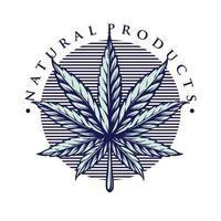 ilustración de estilo vintage de marihuana de hoja vector