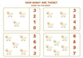 juego de conteo con ovejas de granja. hoja de trabajo de matemáticas. vector