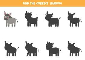 Find the correct shadow of cute donkey. Logical puzzle for kids. vector