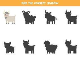 encuentra la sombra correcta de la cabra de la granja. rompecabezas lógico para niños. vector