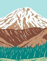 volcán reducto o reducto del monte en la cordillera aleutiana, en gran parte volcánica de alaska, wpa poster art vector