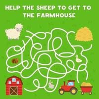 laberinto con ovejas de dibujos animados y granero. juego de lógica para niños. vector