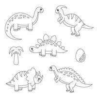Colorea todos los dinosaurios de dibujos animados. juego para niños. vector