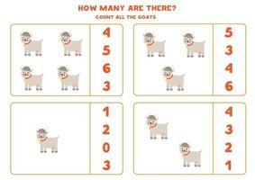 contando juego con cabras de granja. hoja de trabajo de matemáticas. vector