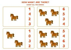 Counting game with farm horses. Math worksheet. vector
