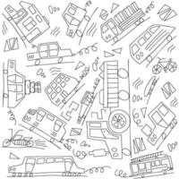 Vector black and white doodle monoline cars. Seamless baby boy pattern monoline. Texture for wallpaper, fills, web page background.