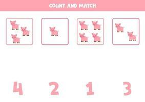 contando juego con cerdos de dibujos animados. hoja de trabajo de matemáticas. vector