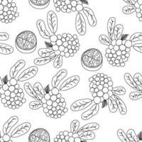 Tropical fruits line seamless pattern. Black and white botanical background. Vector illustration summer monoline