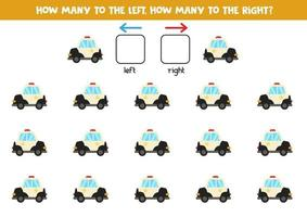 Left or right with police car. Logical worksheet for preschoolers. vector