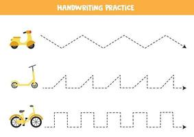 Trace the lines with transportation means. Writing practice. vector