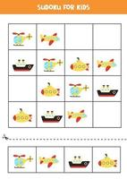 Sudoku game with cartoon transportation means. vector