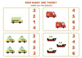 juego de matematicas. contar todos los vehículos. juegos temáticos de transporte. vector