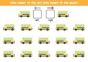 izquierda o derecha con el autobús escolar. hoja de trabajo lógica para niños en edad preescolar. vector