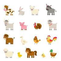 Set of cute cartoon farm animals. Vector illustrations.