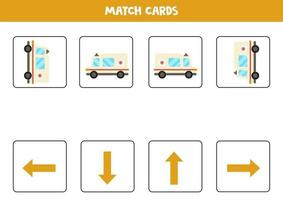 izquierda, derecha, arriba o abajo. Orientación espacial con ambulancia de dibujos animados. vector