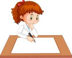 Cute girl wearing scientist uniform writing on blank paper vector