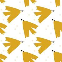 Vector kids seamless background pattern with scandinavian bird for baby shower, textile design. Simple texture for nordic wallpaper, fills, web page background.