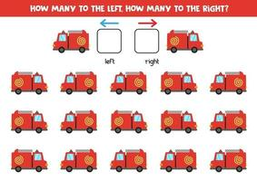 Left or right with fire truck. Logical worksheet for preschoolers. vector