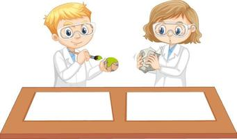 Boy and girl wearing scientist gown with empty paper on the table vector